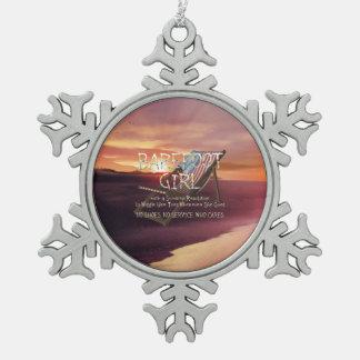 T-STÜCK barfüßigmädchen Schneeflocken Zinn-Ornament