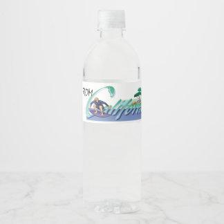 T-STÜCK bin ich von Kalifornien Wasserflaschenetikett