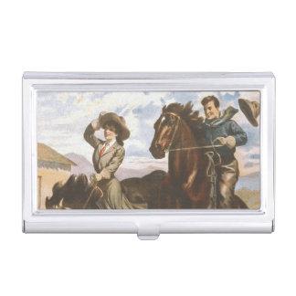 T-STÜCK Cowgirl-alte Schule Visitenkarten Dose
