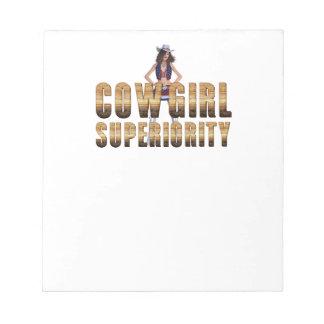 T-STÜCK Cowgirl-Überlegenheit Notizblock