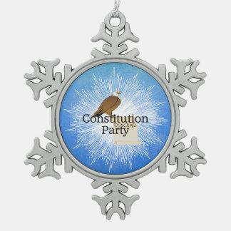 T-STÜCK Konstitutions-Party 2016 Schneeflocken Zinn-Ornament