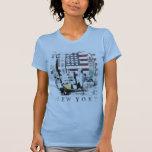 T-Stück mit New York Skyscrape über US Flagge T-Shirts