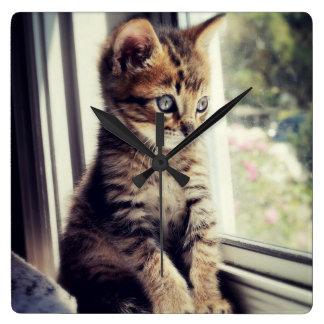 Tabby-Kätzchen-Aufpassen Quadratische Wanduhr
