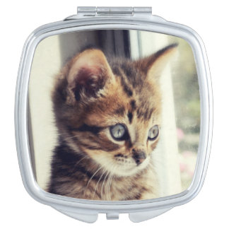 Tabby-Kätzchen-Aufpassen Taschenspiegel