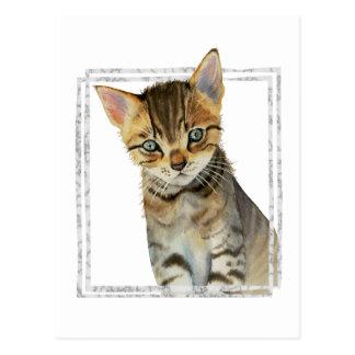 Tabby-Kätzchen-Malerei mit Imitat-Marmorrahmen Postkarte