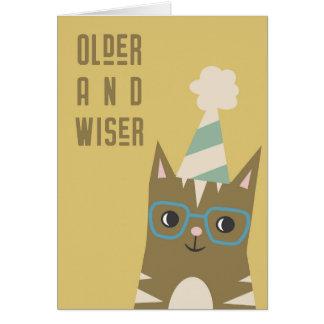 Tabby-Katze mit Glas-Geburtstag Karte