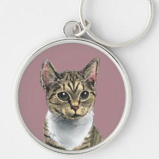 Tabby-Katze mit großen Augen Schlüsselanhänger