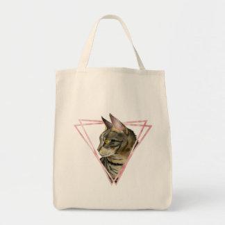 Tabby-Katze mit Imitat erröten metallischer Rahmen Tragetasche
