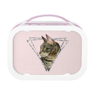 Tabby-Katze mit Imitat-silbernem Glitzer-Rahmen Brotdose