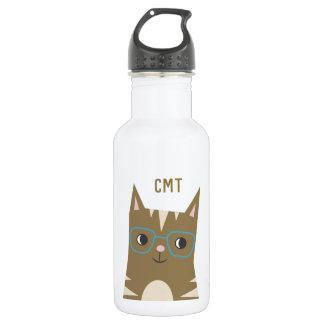 Tabby-Katze mit Monogramm der Glas-| Trinkflasche