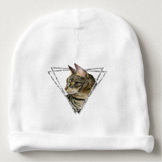 Tabby-Katzen-Porträt mit Imitat-silbernem Babymütze