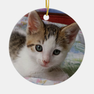 Tabby u. weiße Kätzchen-Verzierung Rundes Keramik Ornament
