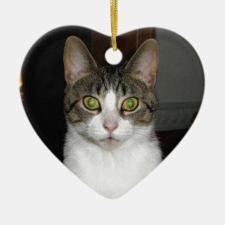 Tabbykatze mit großen grünen Augen Keramik Herz-Ornament