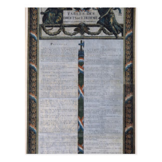 Tabelle der Erklärung der Rechte des Mannes Postkarte