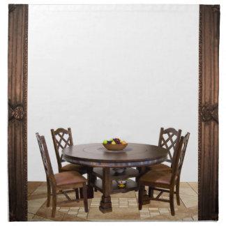 Tabelle mit Stühlen in einem Rahmenentwurf Serviette