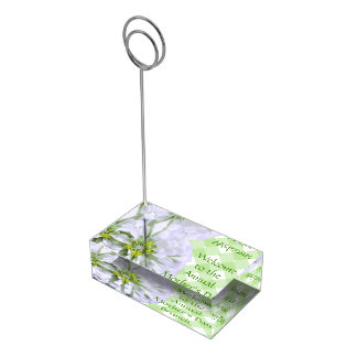 Tabellen-Kartenhalter - weißer Zinnia auf Gitter Tischnummernhalter