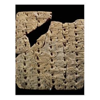 Tablette mit keilförmigem Skript, von Uruk Postkarte