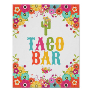 Taco-Bar-Plakat-Fiesta-Party-Tabellen-Zeichen Poster