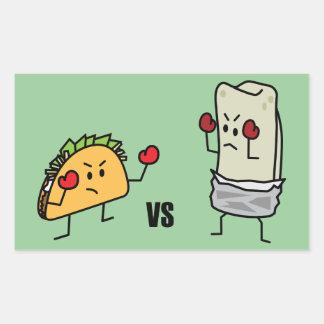 Taco gegen Burrito Rechteckiger Aufkleber