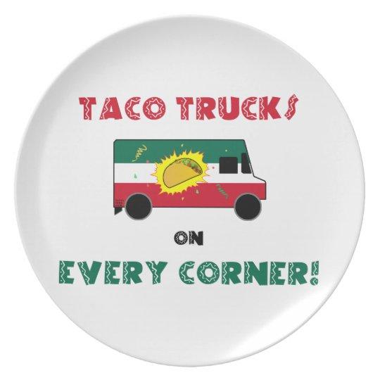 Taco-LKWs auf jeder Ecke Melaminteller