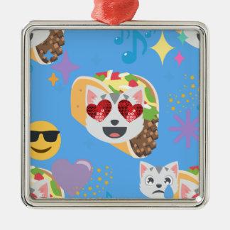 Tacokatze emoji silbernes ornament