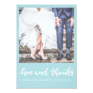 Tadellose Foto-Hochzeits-Liebe des Blau-| und 12,7 X 17,8 Cm Einladungskarte