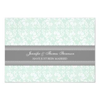 Tadellose graue Damast-gerade verheiratete 12,7 X 17,8 Cm Einladungskarte