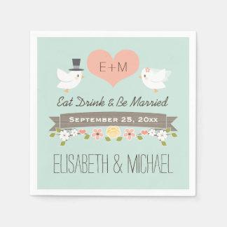 Tadellose grüne Liebe-Vogel-Tauben-Hochzeit Servietten