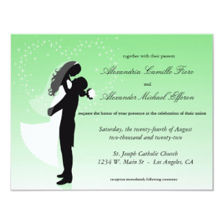 Tadellose grüne Ombre Silhouette-formale Hochzeit 10,8 X 14 Cm Einladungskarte