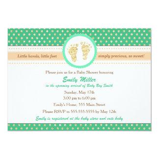 Tadellose grüne Pfirsich-Babyparty-Einladung 12,7 X 17,8 Cm Einladungskarte
