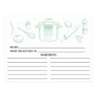 Tadellose grüne skizzierte Küche bearbeitet Postkarte