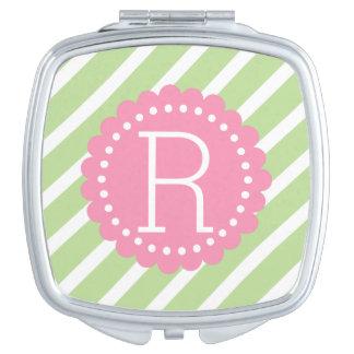 Tadellose grüne und weiße Streifen mit glücklichem Taschenspiegel