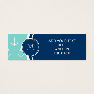 Tadellose grüne weiße Anker, Marine-Blau-Monogramm Mini Visitenkarte