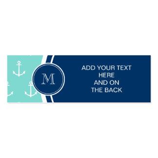 Tadellose grüne weiße Anker Marine-Blau-Monogramm