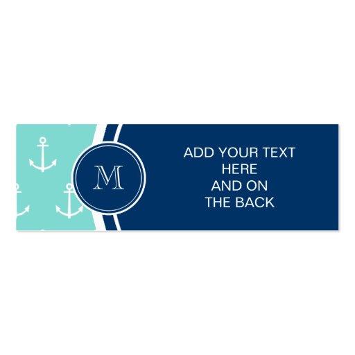 Tadellose grüne weiße Anker, Marine-Blau-Monogramm