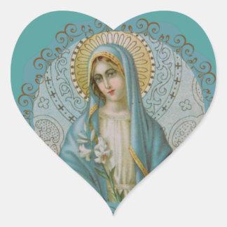 Tadellose Jungfrau Mary dekorativ Herz-Aufkleber