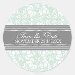 Tadelloser Damast-Save the Date Umschlag Aufkleber
