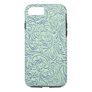 Tadelloser grün-blauer Vintager Scrollwork iPhone 8/7 Hülle