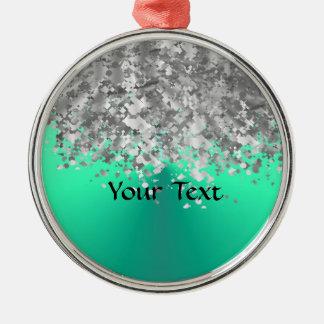 Tadelloser Grün- und Imitat-Glitter Silbernes Ornament