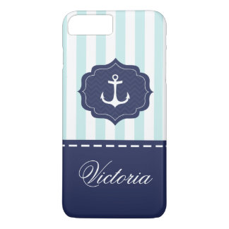 Tadelloser Marine-Blau-Anker-nautischindividueller iPhone 8 Plus/7 Plus Hülle