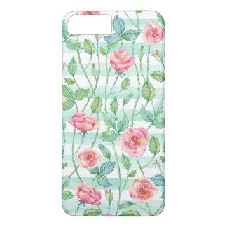 Tadelloser Watercolor Stripes rosa Rosen iPhone 8 Plus/7 Plus Hülle
