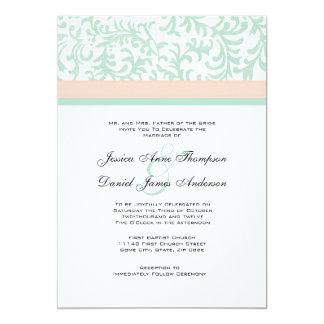Tadelloses Grün und Pfirsich-rosa 12,7 X 17,8 Cm Einladungskarte
