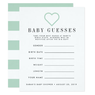 Tadelloses grünes Babyparty-Ratespiel Karte