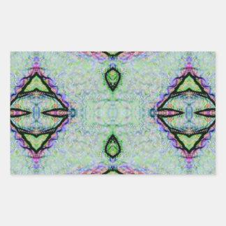 Tadelloses grünes geometrisches Muster Rechteckiger Aufkleber