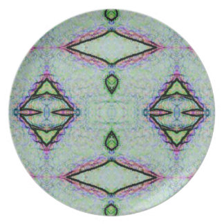 Tadelloses grünes geometrisches Muster Teller