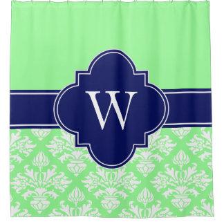 Tadelloses grünes Marine-Monogramm Weiß Duschvorhang