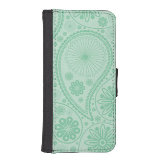 Tadelloses grünes Paisley-Muster iPhone SE/5/5s Geldbeutel