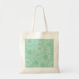 Tadelloses grünes Paisley-Muster Tragetasche