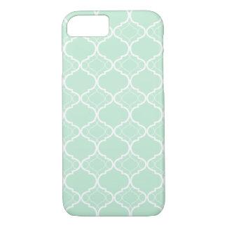 Tadelloses grünes Quatrefoil geometrisches Muster iPhone 8/7 Hülle