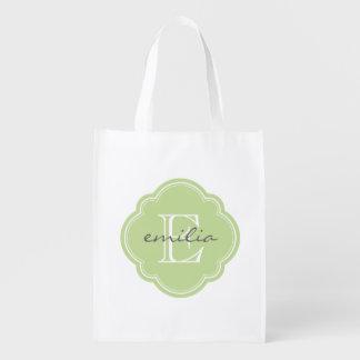 Tadelloses grünes Quatrefoil Gewohnheits-Monogramm Wiederverwendbare Einkaufstasche
